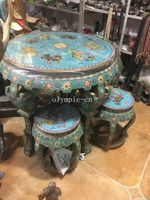 A Set bronze cloisonne enamel fu foo dogs lion design round table and four chair