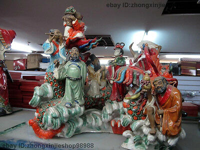 "18""Chinese WuCai porcelain Pottery Eight Immortals God Sit Dragon Buddha Statue"
