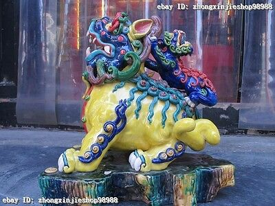 China Taiwan WuCai porcelain Mother Son Foo Dog Lion Auspicious Beast statue