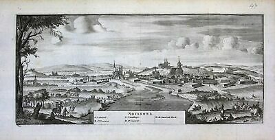 1735 - Soissons Aisne Picardie view vue gravure engraving Ratelband map carte