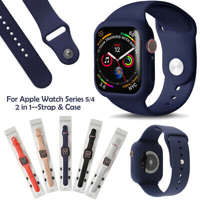 For Apple Watch Series 4 Silicone Sports Band Strap Bumper Case iWatch 40 44mm