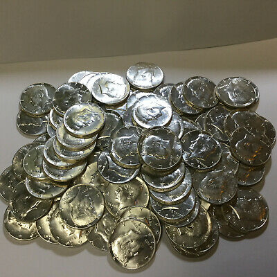 lot of 100  kennedy half dollar silver coins 1964, 1965, 1966, 1968, 1968,1969