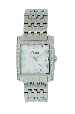 Caravelle by Bulova 43L138 Women's Square Mother of Pearl Crystal Analog Watch