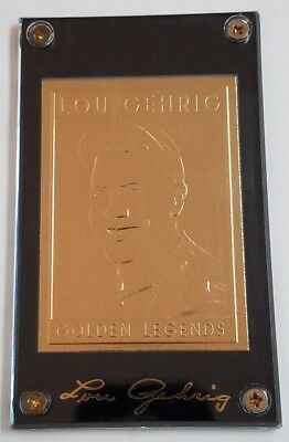 1994 Golden Legends Of Baseball Lou Gehrig 22KT Gold Card #ed  Yankees HOF