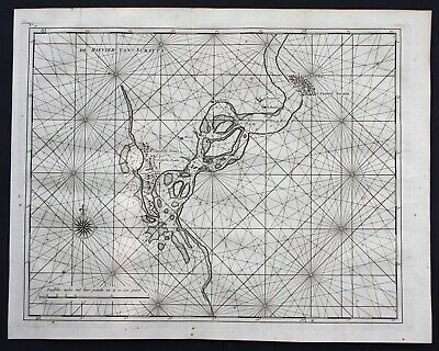 1726 Surat Tapti river India Gujarat sea chart map engraving Valentijn Asia