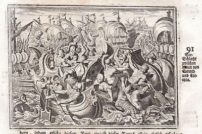 ca 1700 Korinth Corinth See Schlacht sea battle Kupferstich antique print Merian