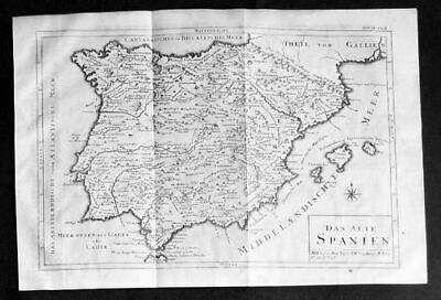 1740 - Espana Spain Portugal map Kupferstich