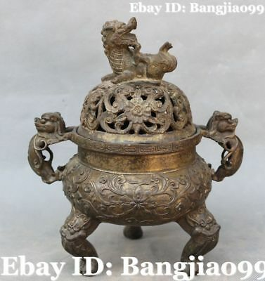 "8"" Old Chinese Bronze Ancient Lion Beast Incense Burner Incensory Censer Statue"