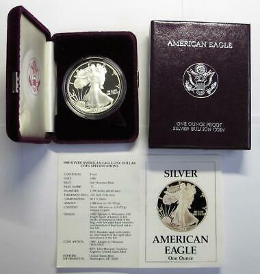 1988 U.S. Silver American Eagle * Proof * In Box with COA * 1 oz .999 Silver