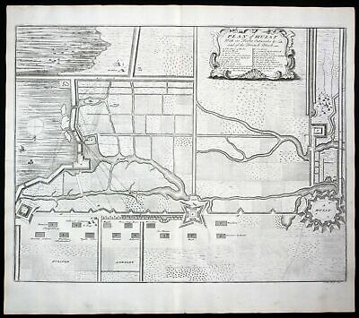 1735 Hulst fortification Fort bataille Fortifikation gravure map Kupferstich