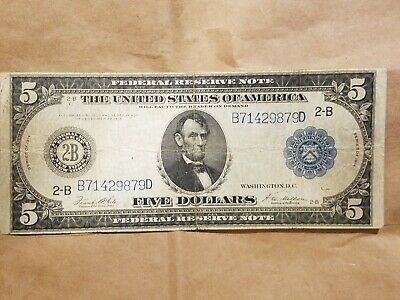 1914 $5 Federal Reserve Note New York Bank Fr. 851A banknote FRN VERY FINE VF !