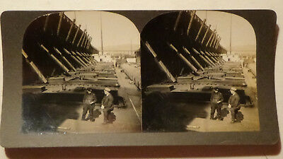 STEREOVIEW  card DULUTH MICH  IRON ORE LOADING STEAMER, MACHINES