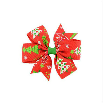 1Pcs Christmas Bowknot Hairpin Hair Bow Clips Barrette For Kids Baby Gir #11