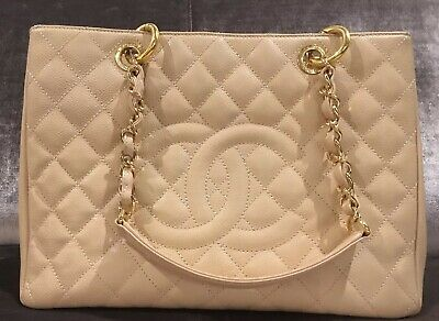 c0982d318e15 Chanel Grand Shopping Tote Quilted Beige 100% authentic Great condition