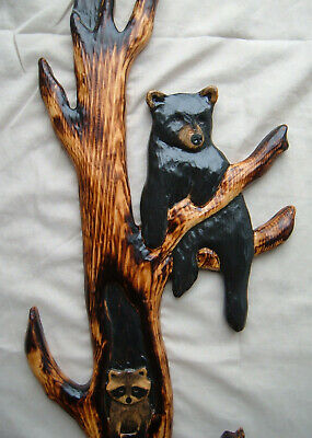 Wood  Carving RACCOON & 2 BLACK BEAR Chainsaw Cabin Decor Wall Art  Carved cub