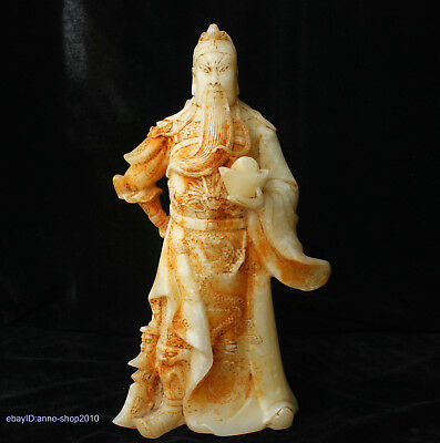 30cm China Natural Old Jade hand carved warrior Guan Yu Statue Sculpture AIQO
