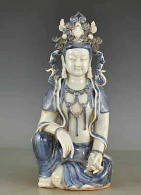 35CM collect Chinese Blue and white porcelain Handmade Kwan-yin statue ABHC
