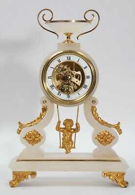 Rare Cherub On A Swing Antique French Boudoir Clock with visible escapement 1870