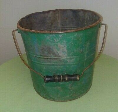 Antique/Vintage Primitive Rustic Green Bucket Early 1900's Rust & Small Holes