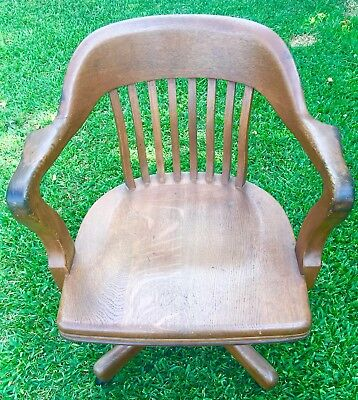 Antique Johnson Company Oak Mission Banker Office Swivel Chair Complete&Original
