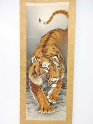 JAPANESE PAINTING HANGING SCROLL TIGER Antique OLD VINTAGE Japan PICTURE 711i