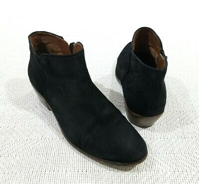 5a5d0bc0a SAM EDELMAN WINNIE Black Suede Ankle Boots Sz 8.5 Floral Embroidered ...