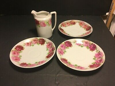 Lot of VINTAGE ROYAL ALBERT? FINE BONE CHINA 3 SAUCERS+CREAMER OLD ENGLISH ROSES