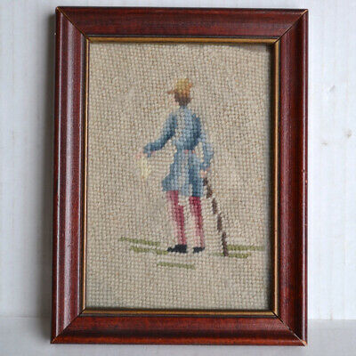 Vintage Framed NEEDLEPOINT Colonial Victorian Dressed Gentleman w/Walking Stick