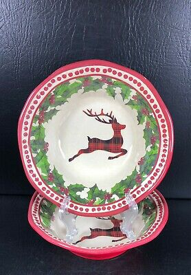 NEW Cynthia Rowley Plaid Christmas Holiday Deer Country Melamine Serving Platter