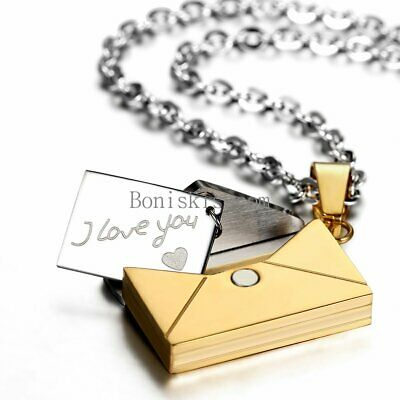 """Stainless Steel Envelope """" I Love You """" Pendant Necklace Valentine Lovers Gifts"""