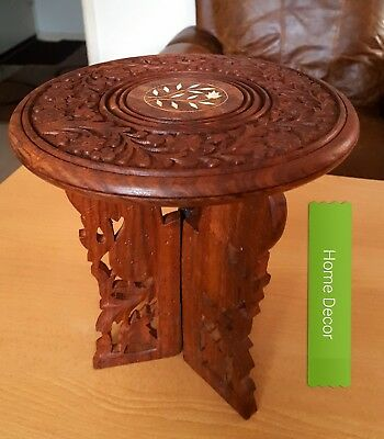 HOME DECOR Vintage/Antique Oriental Indian STUNNING hand carved Rosewood Table