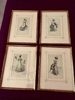 Antique Early 19th Century Set Of 4 Framed Hand Colored Line Engravings