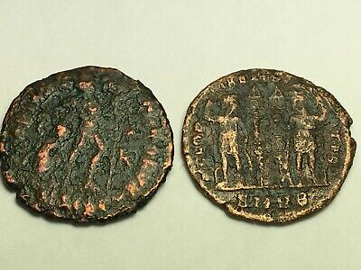 ANCIENT ROMAN Auth. 2 coin$; 307 AD. 2 LEGION w/2 STANDARDS  & DRAGGING 307- AD