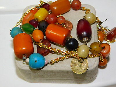 "Chunky Bakelite Multi-color Bead 48"" Gold Chain Necklace 10i 69"