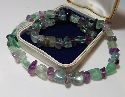 Real Chunky Fluorite Stone Beads Teal Green Puple Aqua Silver Choker Necklace