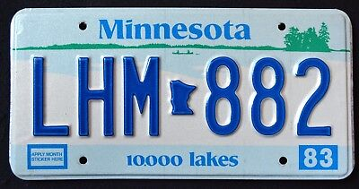 "MINNESOTA "" 10.000 LAKES LHM 882 "" 1983 MN Vintage Classic Graphic License Plate"