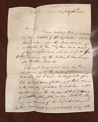 1846 George Ashmun Signed Letters, General Zachary Taylor, Mexican-American War