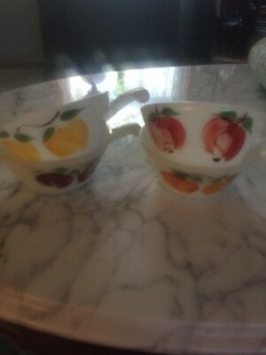 "Vintage RARE Fire King ""Gay Fad"" Set (4) Fruit Bowls Handled French Soup Bowl"