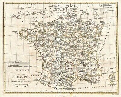 1799 Clement Cruttwell Map Of France In Departments 8X10 Print Fp_1642201117