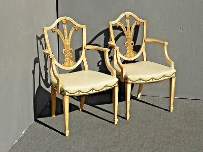 Pair of Vintage Unique Ornate Hepplewhite Shield Back Arm Chairs