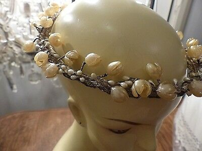 Antique French Bridal Crown - Headpiece - Silver Metallic - Wax Flowers