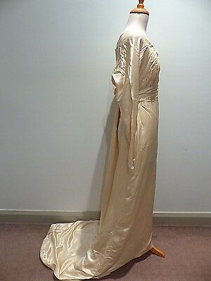 ANTIQUE CIRCA 1890s WEDDING DRESS WITH TRAIN