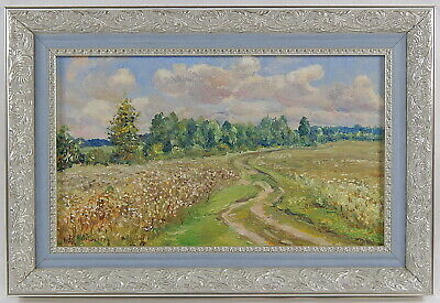 Vintage landscape. Original oil painting Framed. Signed V. Slovokhotov 1997