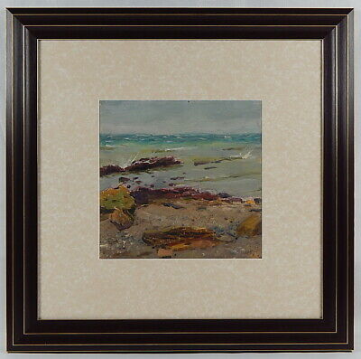 "Seascape. Original oil painting. Framed. Signed Tkachenko E. ""Fresh Wind"" 1955."