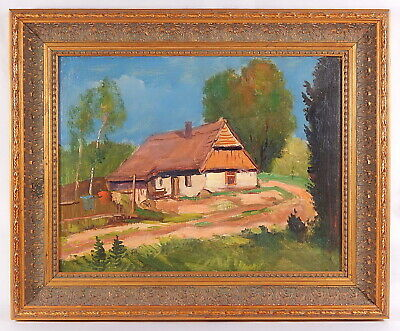 Vorontsov V. V. (1873-1927). Landscape. Original antique framed oil painting.