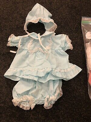 Cabbage Patch Kids Coleco Girl's Blue Outfit - Dress, Bloomers & Bonnet