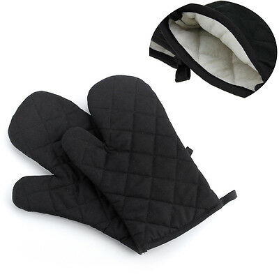 1Pair Cotton Thick Kitchen Baking Cook Insulated Padded Oven Gloves Mitt Black