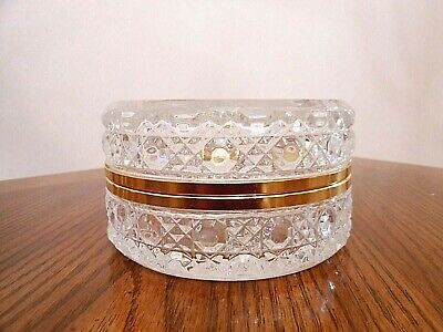 Vintage French Fruits Design Round Crystal Jewelry Box Casket with Hinged Lid