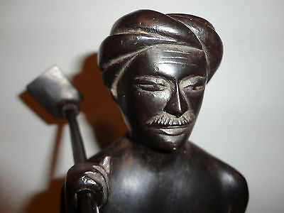 """15"""" Carved Polished Dark Wood Tribal Man Holding Tool/Head Piece Statue"""