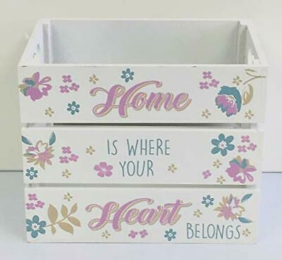 Vintage Maison Small Flower Wooden Slatted Apple Crate Storage Crate Box Home Is